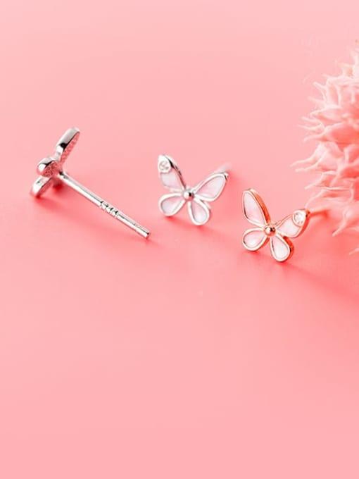 Rosh 925 Sterling Silver Enamel Butterfly Minimalist Stud Earring 1