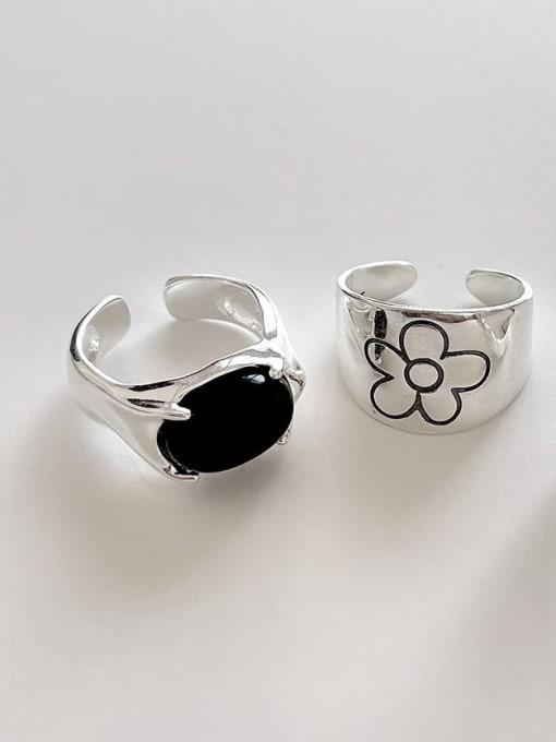 Boomer Cat 925 Sterling Silver Flower Vintage Black Agate  Band Ring 0
