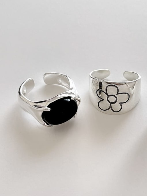 Boomer Cat 925 Sterling Silver Flower Vintage Black Agate  Band Ring