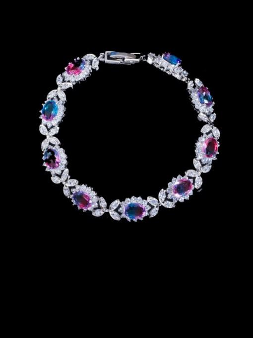 L.WIN Brass Cubic Zirconia Oval Luxury Bracelet 3