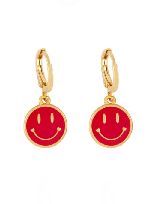 red Brass Enamel Smiley Minimalist Huggie Earring