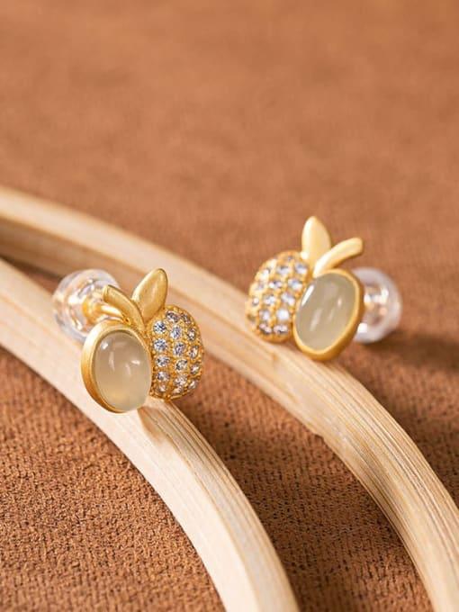 DEER 925 Sterling Silver Jade Friut  Apple Vintage Stud Earring 0
