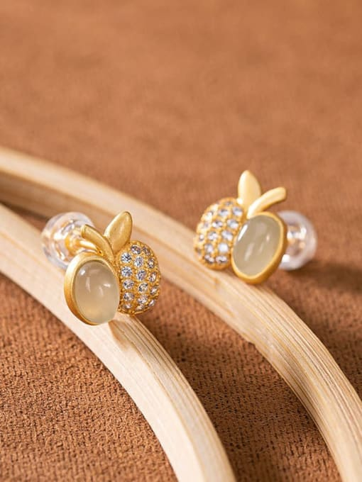 DEER 925 Sterling Silver Jade Friut  Apple Vintage Stud Earring