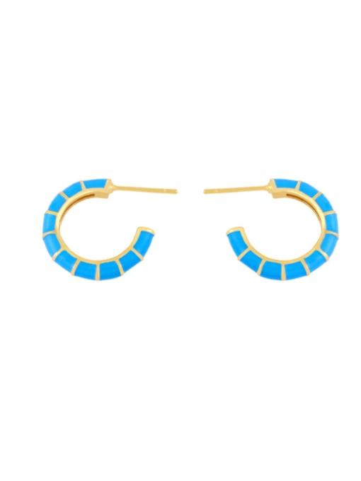 blue Brass Enamel Geometric Minimalist Stud Earring