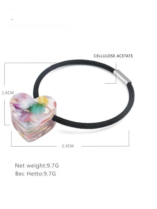 Broken flower color Cellulose Acetate Minimalist Heart Hair Rope