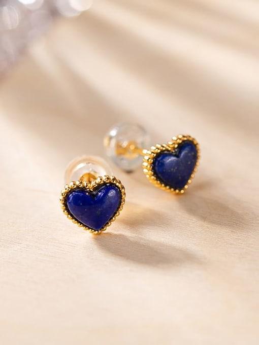 Heart shaped 925 Sterling Silver Carnelian Geometric Minimalist Stud Earring