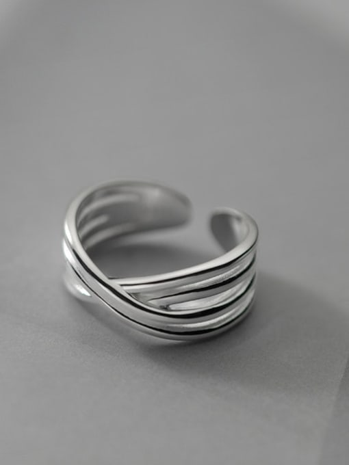 Rosh 925 Sterling Silver Cross Vintage Band Ring 0