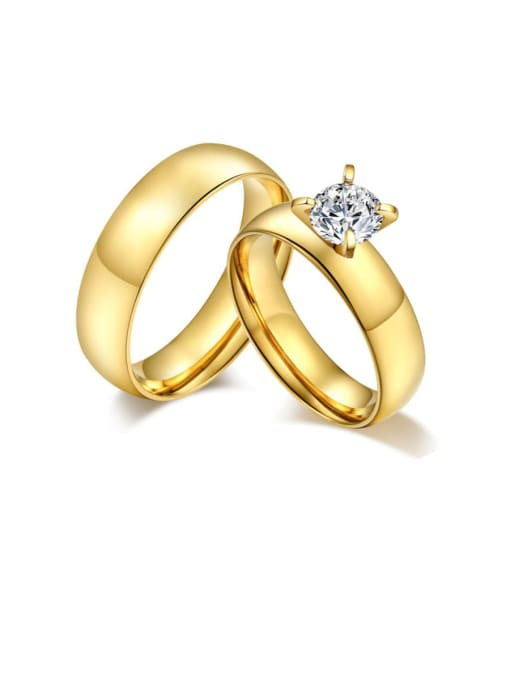 CONG Stainless steel Rhinestone Geometric Minimalist Band Ring