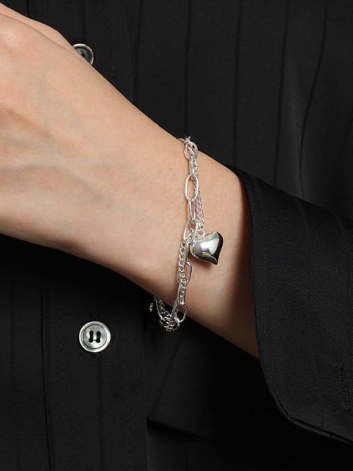 DAKA 925 Sterling Silver Heart Vintage Strand Bracelet 2