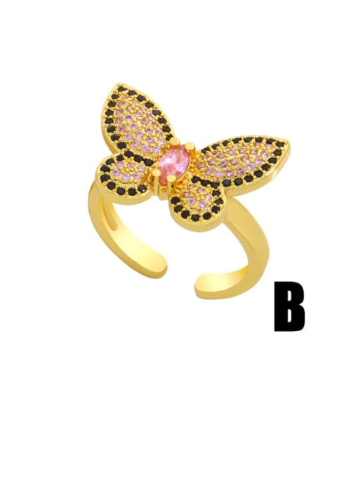 CC Brass Cubic Zirconia Butterfly Vintage Band Ring 0