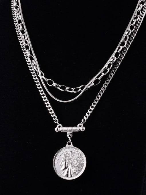 A TEEM Titanium Steel Geometric Vintage Multi Strand Necklace