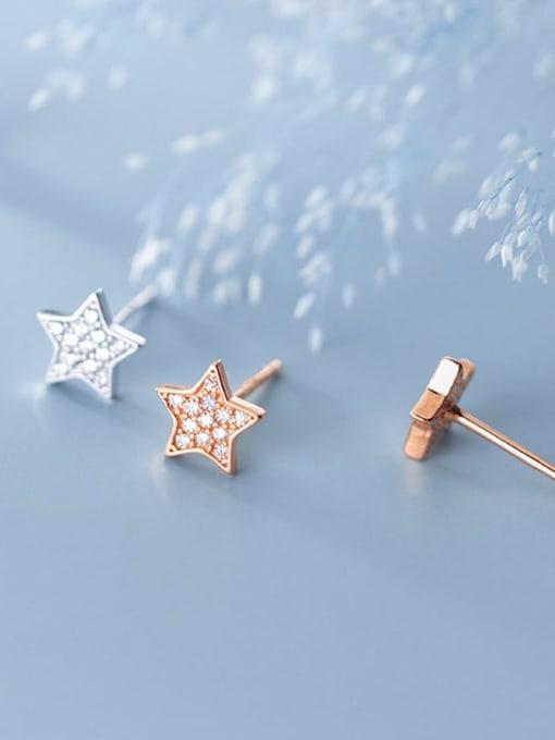 Rosh 925 Sterling Silver Rhinestone Star Minimalist Stud Earring 2