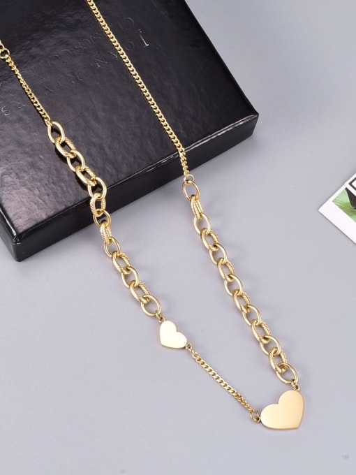 A TEEM Titanium Steel Heart Minimalist Necklace 1