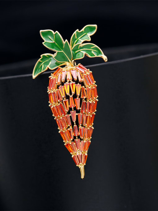 Golden orange zircon Brass Cubic Zirconia Flower Cute Brooch
