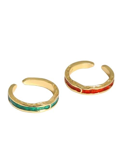 DAKA 925 Sterling Silver Enamel Irregular Vintage Band Ring