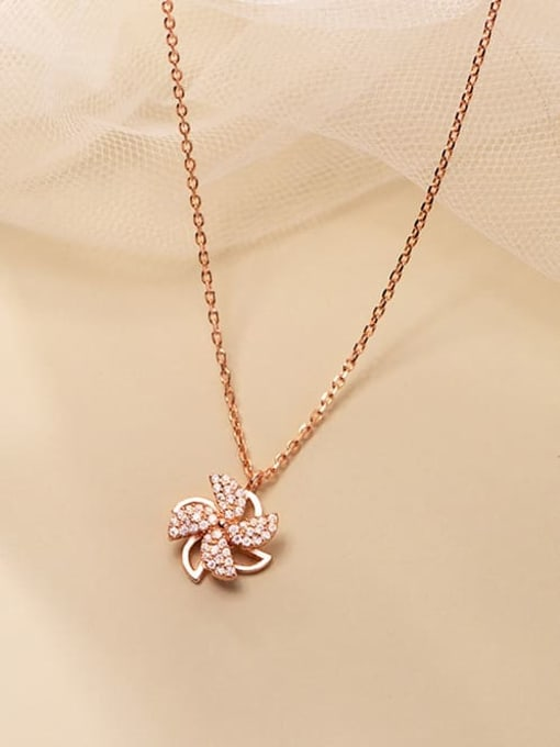 Rosh 925 Sterling Silver Cubic Zirconia Clover Minimalist Necklace 2