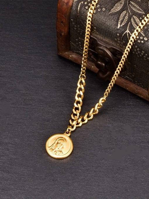 A TEEM Titanium Steel Round Minimalist Necklace 2