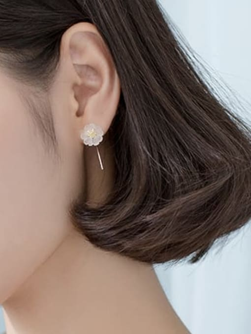 Rosh 925 Sterling Silver Acrylic Flower Minimalist Stud Earring 3
