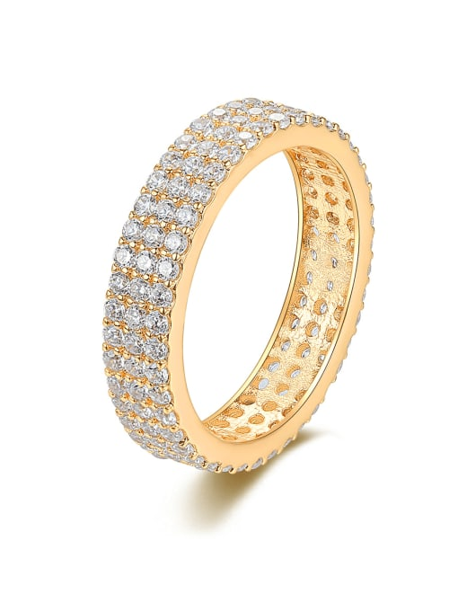 BLING SU Brass Cubic Zirconia Round Minimalist Band Ring 0