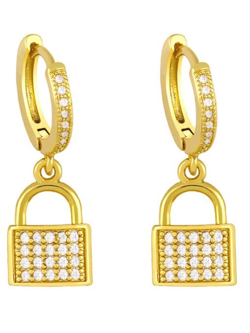 C Brass Cubic Zirconia Heart Vintage Huggie Earring