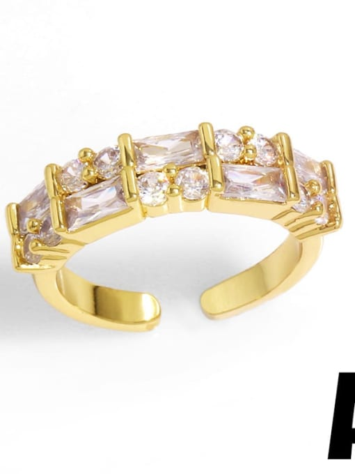 A Brass Cubic Zirconia Geometric Vintage Band Ring