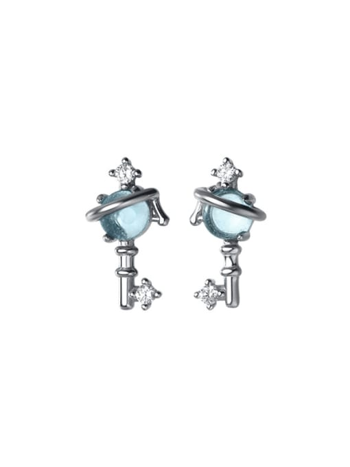 Rosh 925 Sterling Silver Cubic Zirconia Irregular Minimalist Stud Earring 4