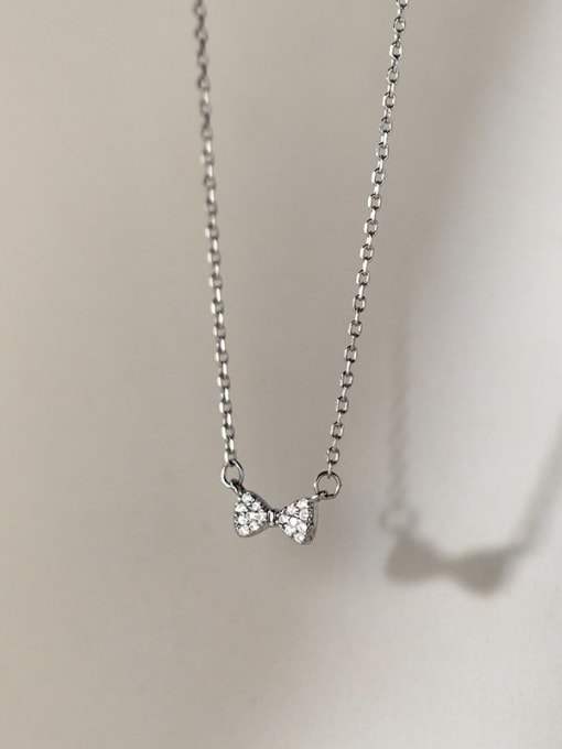 Rosh 925 Sterling Silver Cubic Zirconia Bowknot Minimalist Necklace 3