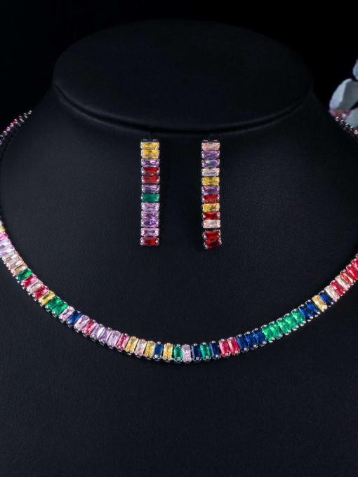 L.WIN Brass Cubic Zirconia  Luxury Tassel Earring and Necklace Set 1