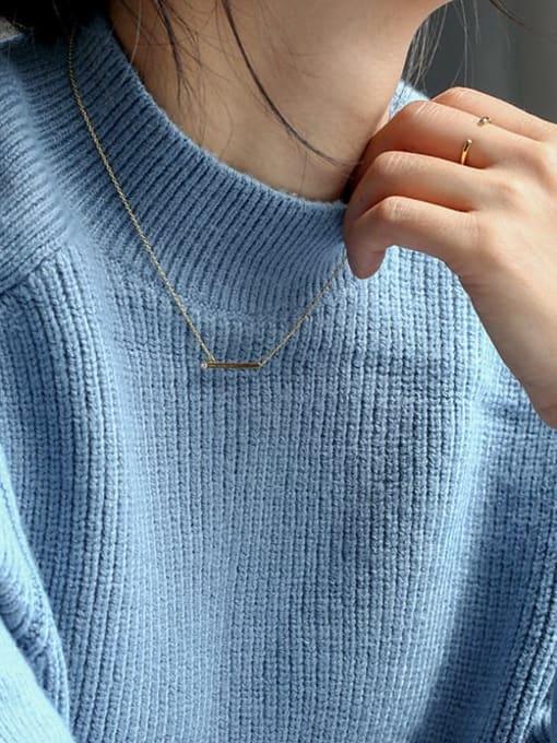 CHARME Brass Rhinestone Geometric Minimalist Pendant Necklace 2