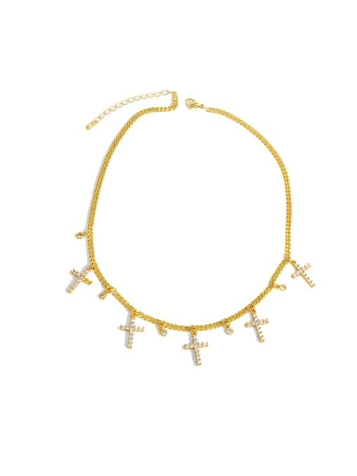 nkt31 Brass Cubic Zirconia Tassel Vintage Necklace