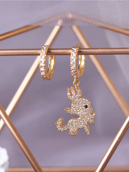 DUDU Brass Cubic Zirconia Irregular Vintage Asymmetry  Huggie Earring 2