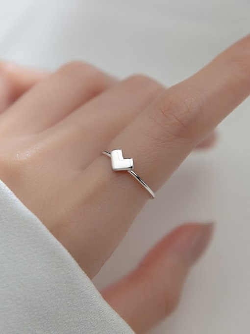 Rosh 925 Sterling Silver Heart Minimalist Band Ring 4