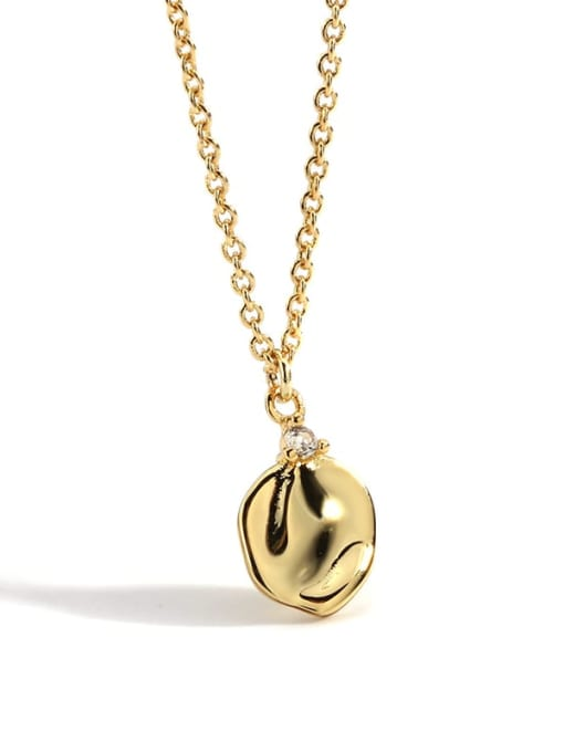 Gold pleated Vintage Necklace Brass Smooth Geometric Minimalist Pendant  Necklace