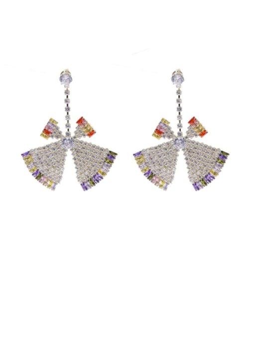 Luxu Brass Cubic Zirconia Triangle Statement Drop Earring 3