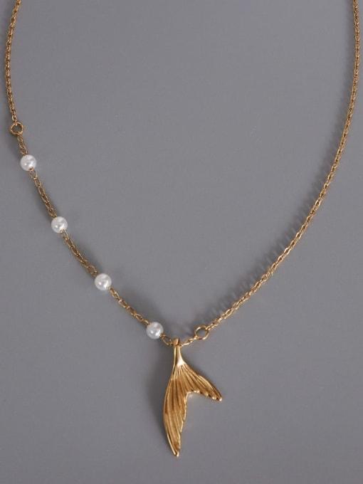 A TEEM Titanium Steel Minimalist Fish  tail Pendant Necklace