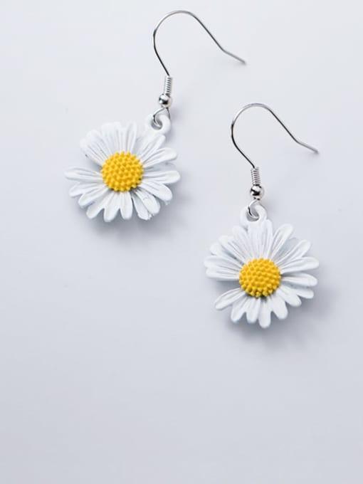 Rosh 925 Sterling Silver Resin Flower Minimalist Hook Earring 4