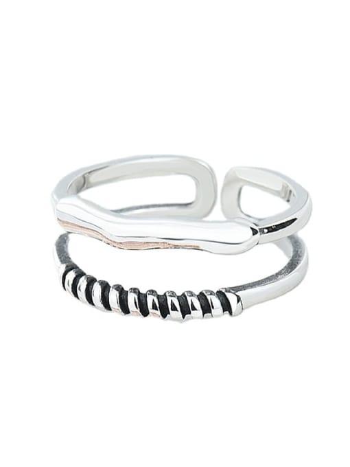 XBOX 925 Sterling Silver Irregular Vintage Stackable Ring 0