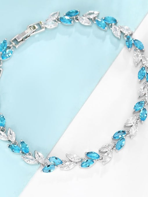 Platinum gold sky blue with white Brass Cubic Zirconia Multi Color Leaf Dainty Bracelet