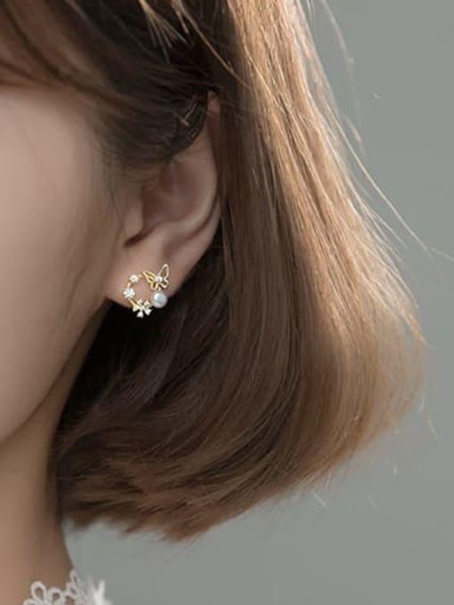 Rosh 925 Sterling Silver Rhinestone Flower Dainty Stud Earring 2