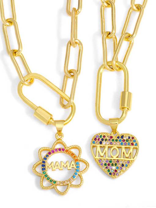 CC Brass Cubic Zirconia  Minimalist Letter Heart Pendant Necklace 0
