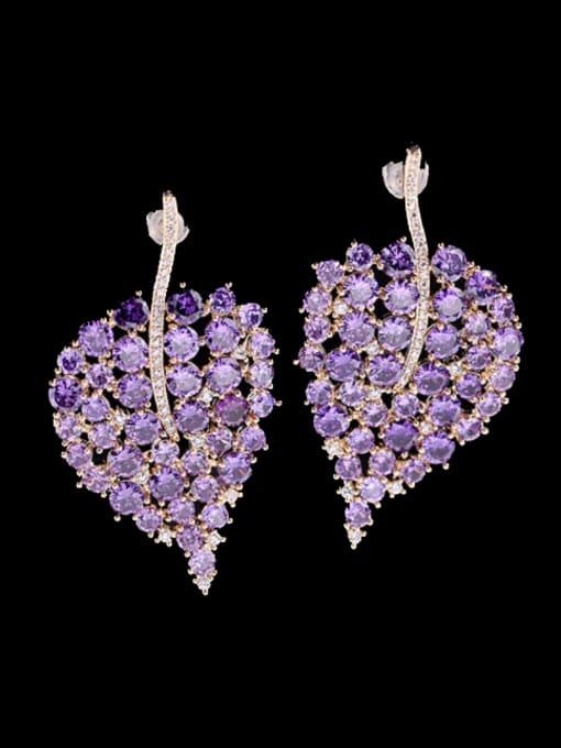 Luxu Brass Cubic Zirconia Leaf Bohemia Stud Earring