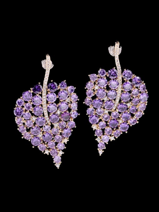 Purple Brass Cubic Zirconia Leaf Bohemia Stud Earring