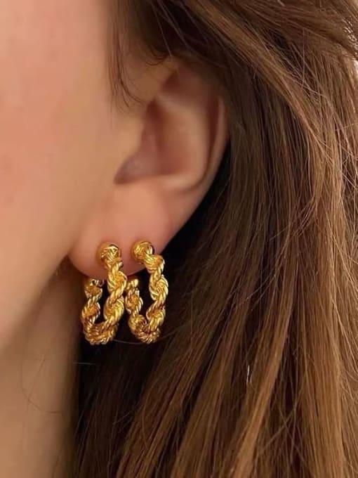 LI MUMU Brass  Twist Geometric Vintage Hoop Earring 1