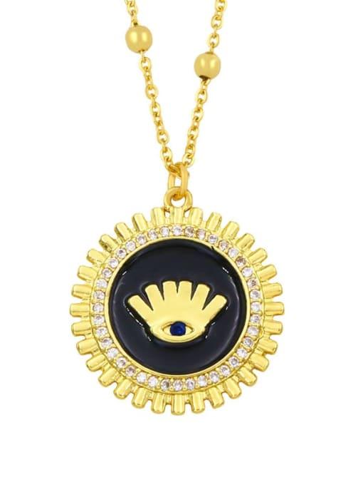 black Brass Rhinestone Enamel Round Hip Hop Necklace
