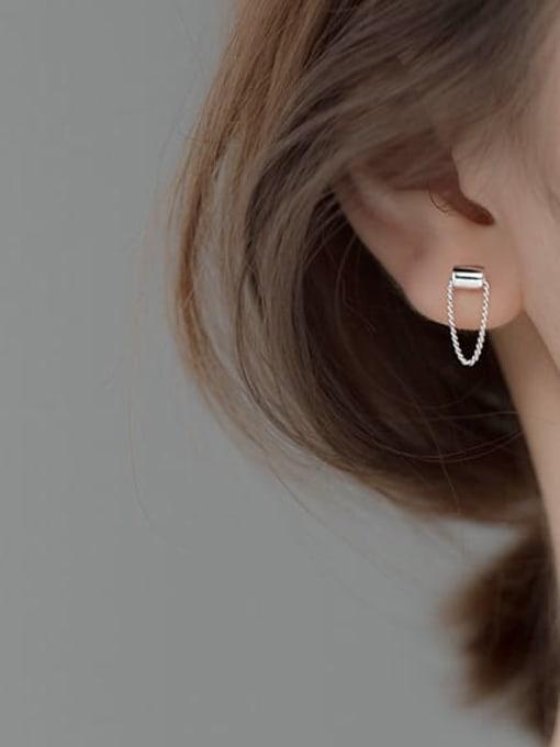 Rosh 925 Sterling Silver Geometric Trend Threader Earring 1