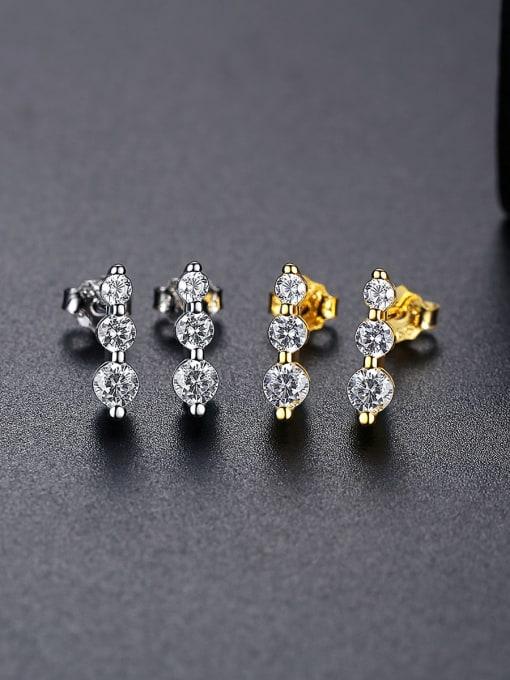 CCUI 925 Sterling Silver Cubic Zirconia Geometric Minimalist Drop Earring 2