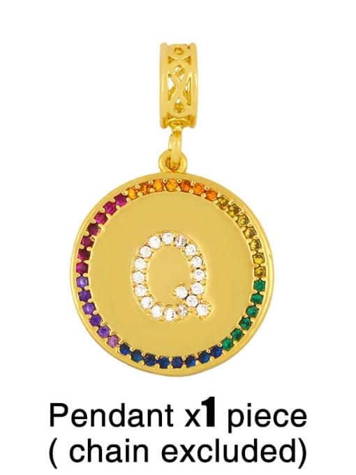 Q (excluding chain) Copper Cubic Zirconia Rround Letter Minimalist Pendant