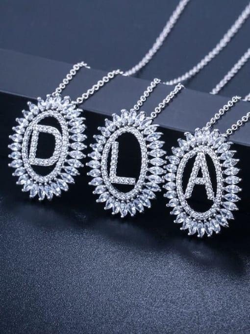 L.WIN Brass Cubic Zirconia Geometric Luxury Letter pendant Necklace