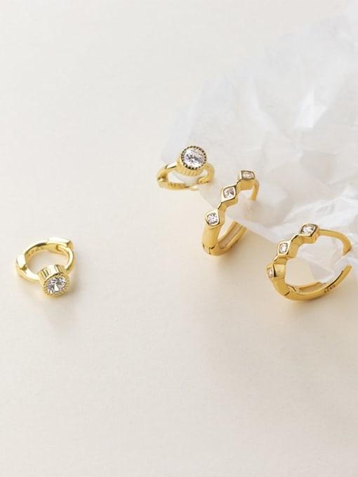 Rosh 925 Sterling Silver Cubic Zirconia Geometric Minimalist Huggie Earring 0