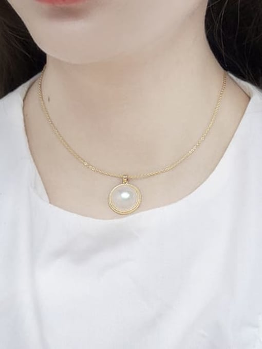 RAIN Brass Imitation Shell Pearl Geometric Minimalist Necklace 2